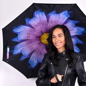 Purple & Blue Flower Inverted Umbrella